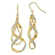 14k Polished Glitter Infused Spiral Dangle Earrings