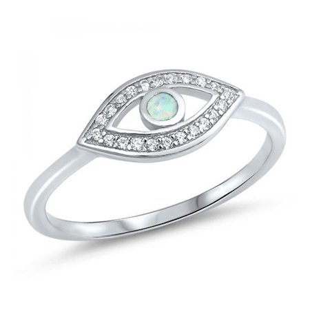 925 Sterling Silver Evil Eye Lab opal Gem Ring - Eye Rings