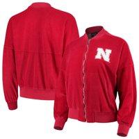 Nebraska Cornhuskers Women's Velour Bomber Jacket - Scarlet