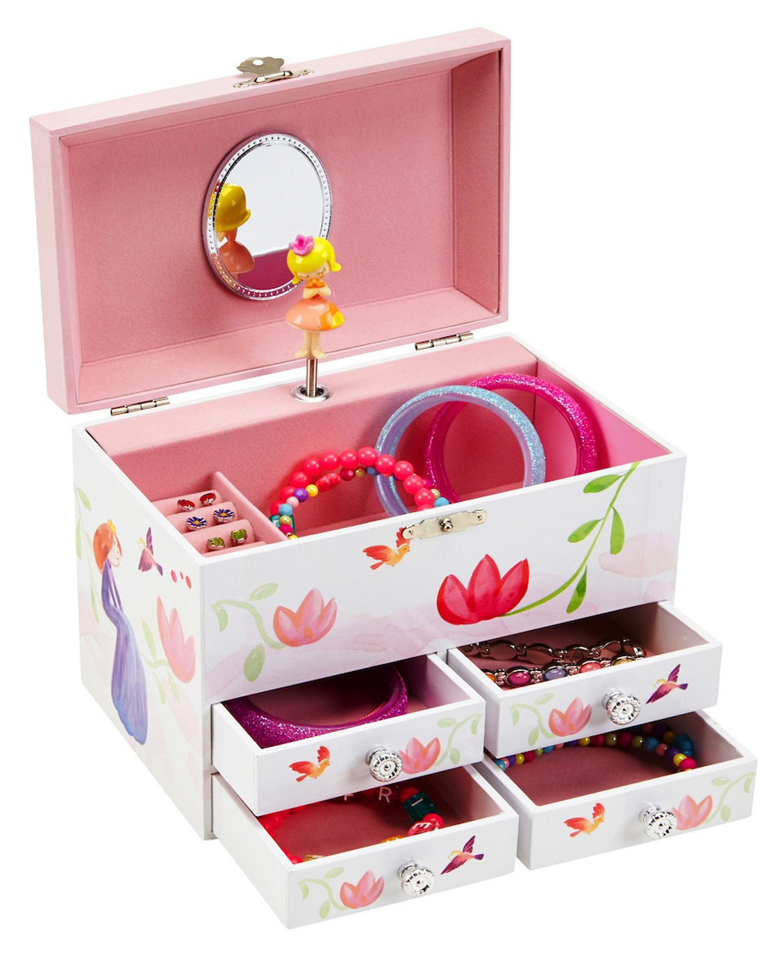 JewelKeeper Princess And Flowers Large Musical Jewelry Storage Box With 4  Pullout Drawers, Girlu0027s Jewel