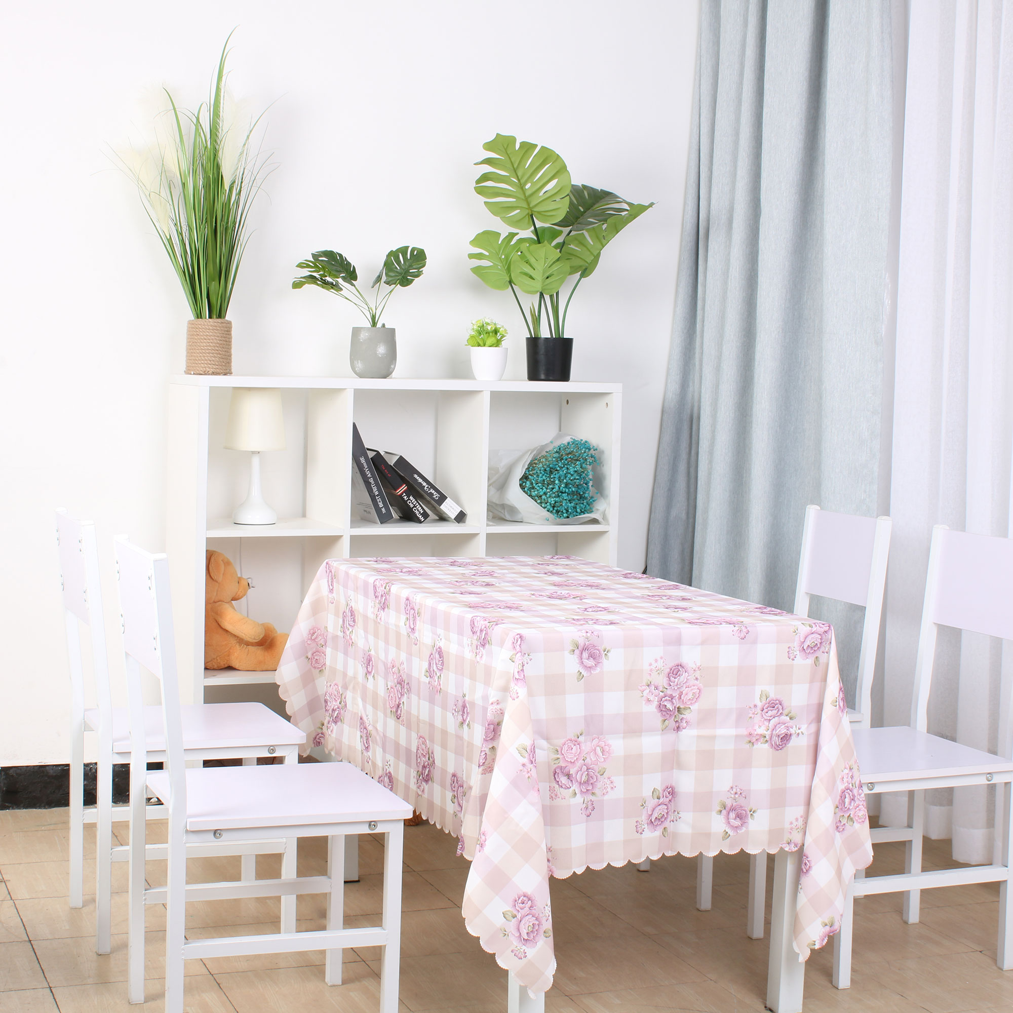 """Plaid Pattern Soft Tablecloths Cotton-linen Table Cover Kitchen for Party Wedding 63"""" x 39"""", #2"""