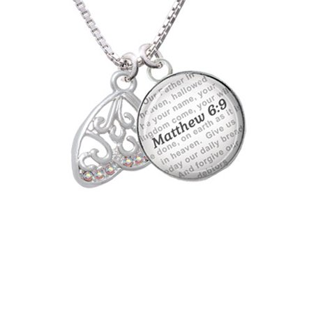 Open Clear AB Crystal Butterfly Wing - Bible Verse Matthew 6:9 Glass Dome Necklace