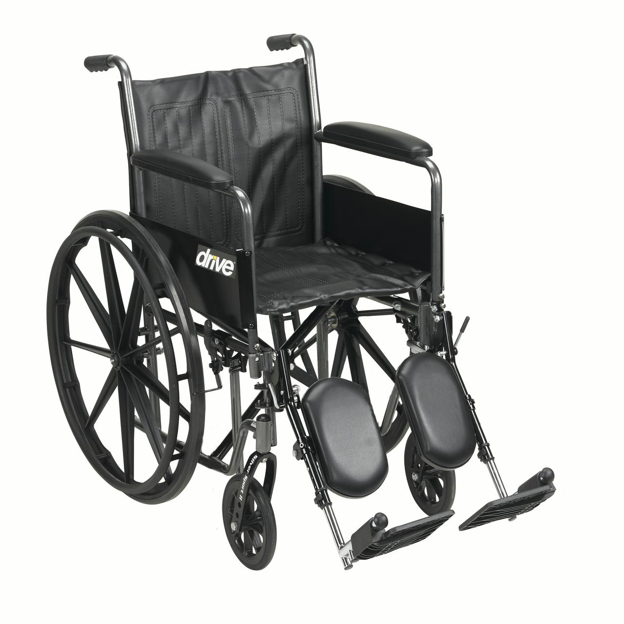 """Drive Medical Silver Sport 2 Wheelchair, Detachable Full Arms, Elevating Leg Rests, 20"""" Seat"""