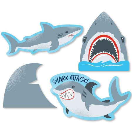 Shark Zone - Shark Week Party - DIY Shaped Jawsome Shark Party or Birthday Party Cut-Outs - 24 Count