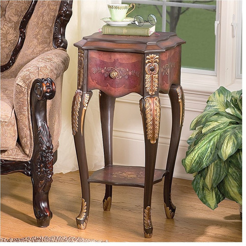 Design Toscano Floral Bouquet Chiffoniere End Table