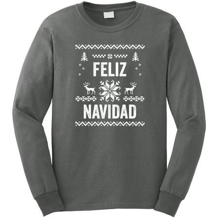 Purple Argyle Sweater (Feliz Navidad Ugly Sweater Look Men's Long Sleeve Shirt - ID:)
