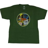 X-Men (Marvel Comics) Mens T-Shirt - Wolverine Nightcrawler & More Circle Logo