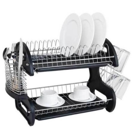 Ktaxon 2 Tier Dish Drainer Drying Rack Large Capacity Kitchen Storage Stainless Steel Holder,Washing - Dish Storage Containers