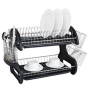 Ktaxon 2 Tier Dish Drainer Drying Rack Large Capacity Kitchen Storage Stainless Steel Holder Washing