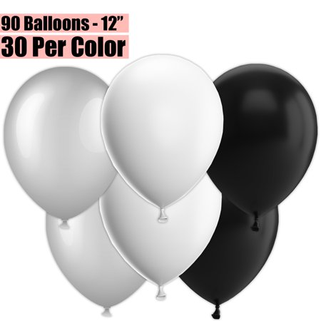 12 Inch Party Balloons, 90 Count - Metallic Silver + White + Black - 30 Per Color. Helium Quality Bulk Latex Balloons In 3 Assorted Colors - For Birthdays, Holidays, Celebrations, and More!!](90 Birthday Ideas)
