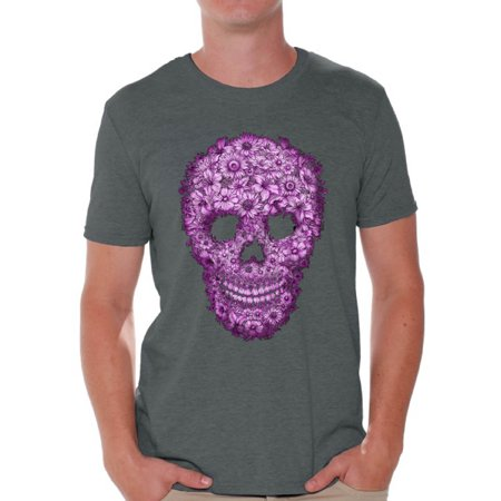 Awkward Styles Flower Skull Tshirt for Men Floral Sugar Skull Shirt Sugar Skull Shirt Day of the Dead T Shirt for Men Dia de los Muertos Gifts for Him Halloween Outfit Sugar Skull Flowers T-Shirt - Gifs De Halloween