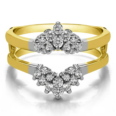 Brilliant Moissanite Mounted in Sterling Silver Double Row Prong Set Ring Guard (Round Moissanite Double Prong)