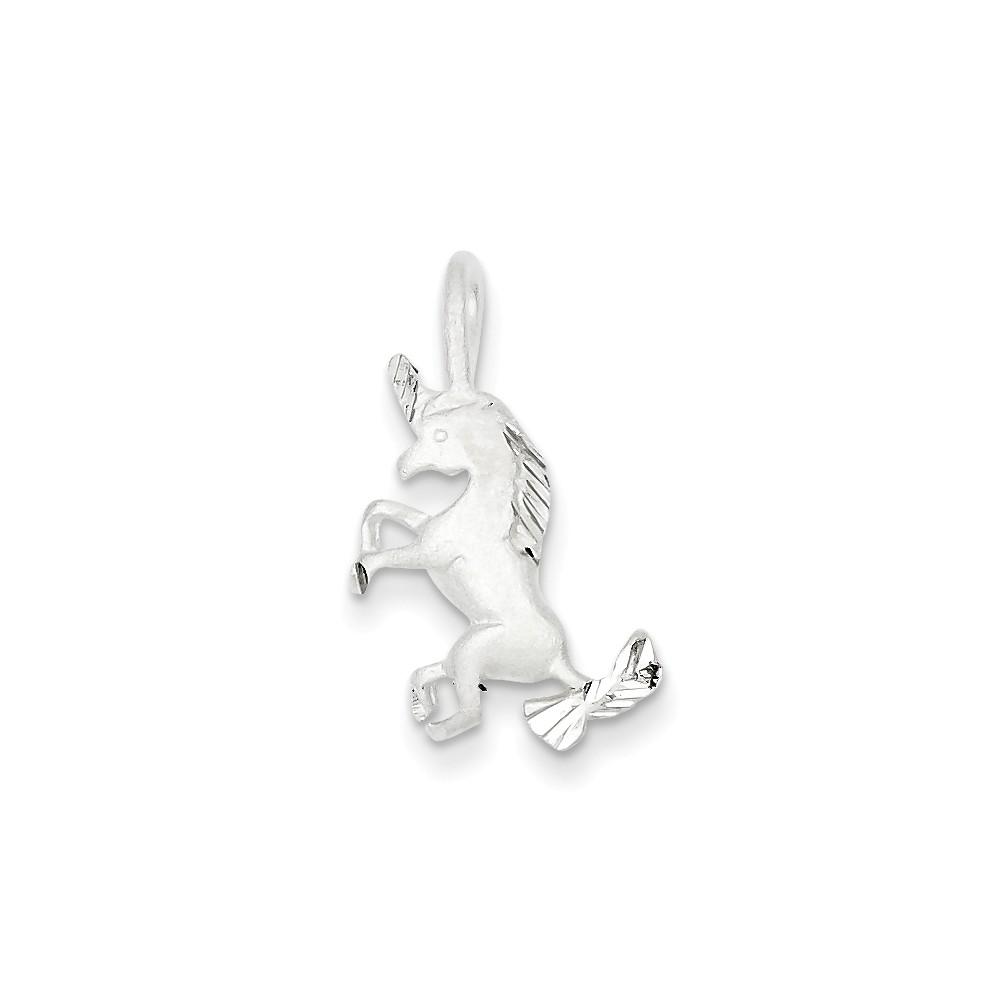Sterling Silver Fancy Unicorn Charm (0.9in long x 0.4in wide)