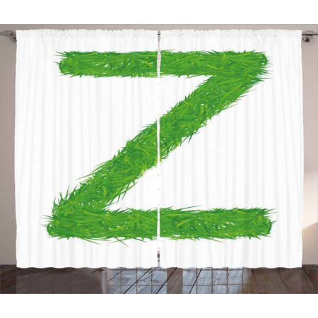 Letter Z Curtains 2 Panels Set  Spring Capital Z Made Out Of Grass Ladybug Butterfly Daisy Chamomile Flowers  Window Drapes For Living Room Bedroom  108W X 63L Inches  Green Multicolor  By Ambesonne