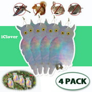 [4 Packs] Fake Owl Bird Scare Repellent Device Large Possum Rodent Bird Pest Deterrent IClover