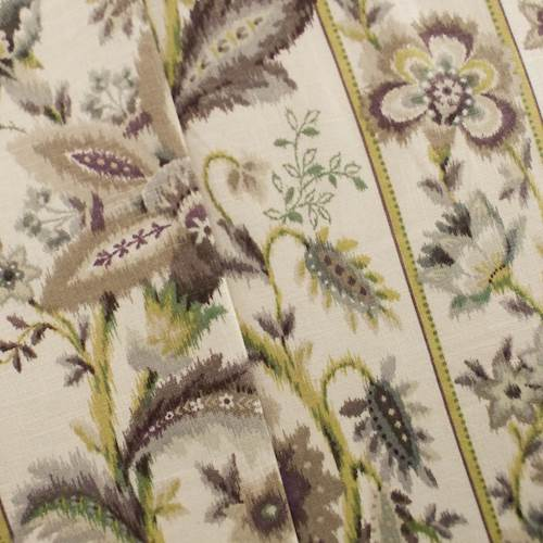 Designer Purple/Ivory Ikat Floral Stripe Cotton Print Home Decorating Fabric, Fabric By the Yard
