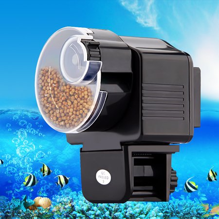 - 12H/24H Automatic Fish Feeder Aquarium Tank Auto Fish Food Timer Capacity Adjustable,Black