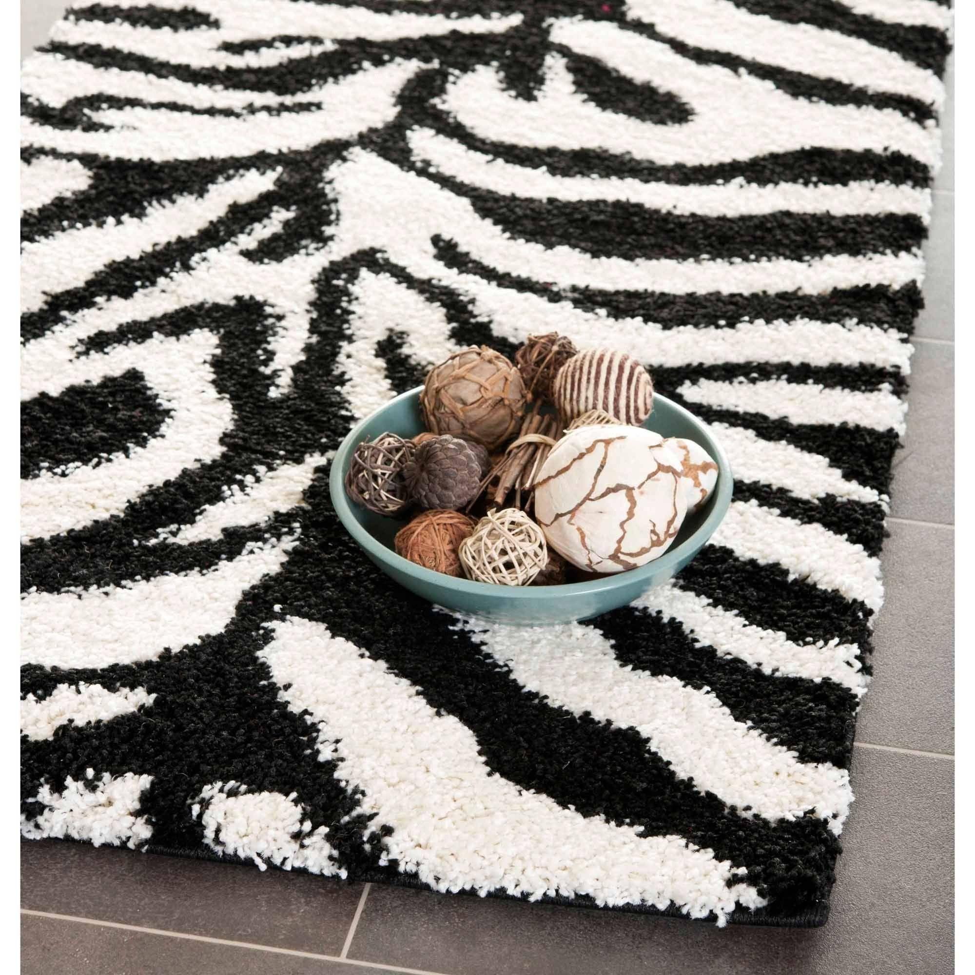 Safavieh Florida Shag Zebra Rectangle Pile Rug