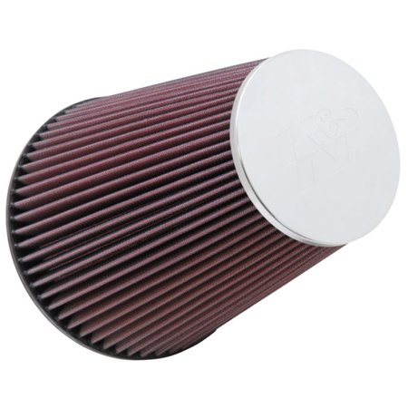 K&N RC-5046 Universal Clamp-On Air Filter: Round Tapered; 6 in (152 mm) Flange ID; 9 in (229 mm) Height; 7.5 in (191 mm) Base; 4.5 in (114 mm) Top