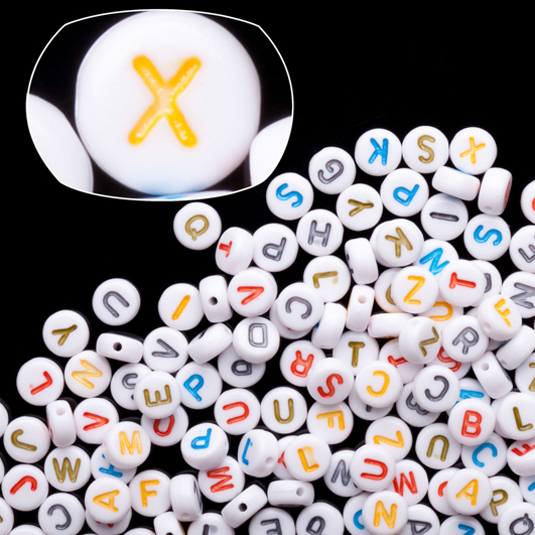 Opaque White Rainbow Letter Flat Round Alphabet Beads 7mm 50Gram/386pcs
