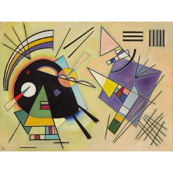 Wassily Kandinsky Stretched Canvas Art - Nero e viola - Small 11 x ...