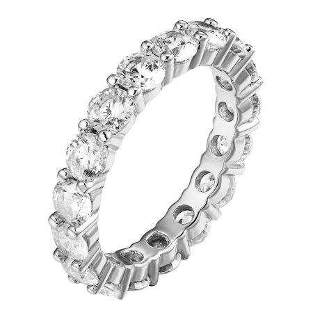 Eternity Wedding Ring Solitaire Simulated Diamonds Bridal Promise Band 925 Silver
