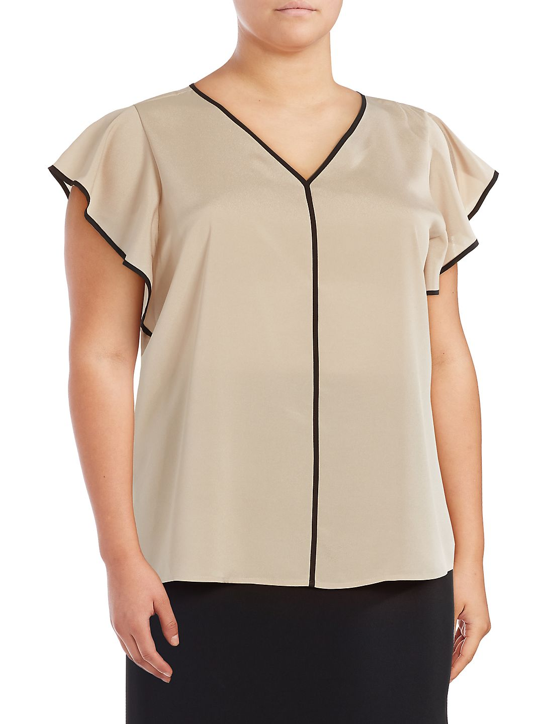 Plus Piped Cap Sleeve Blouse