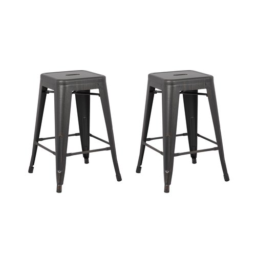 Image of AC Pacific Backless Distressed Metal Barstool, Black, 24 -inch, Set of 2