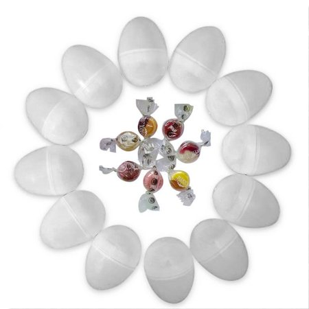 Set of 12 White Plastic Eggs with Organic Candy 2.25