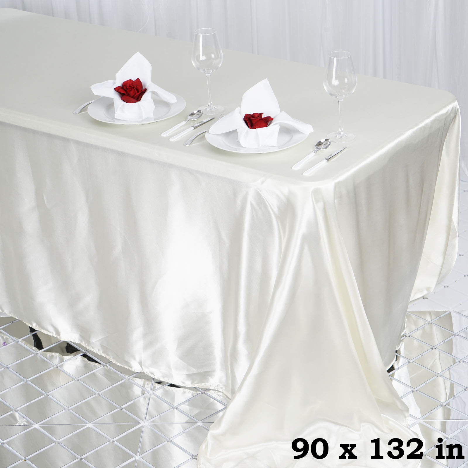 """Efavormart 90x132"""" Rectangle Satin Tablecloth for Kitchen Dining Catering Wedding Birthday Party Decorations Events"""