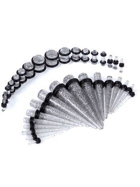Gauges Kit 18 Pairs Clear Glitter Acrylic Tapers & Plugs 14G 12G 10G 8G 6G 4G 2G 0G 00G 36 Pieces