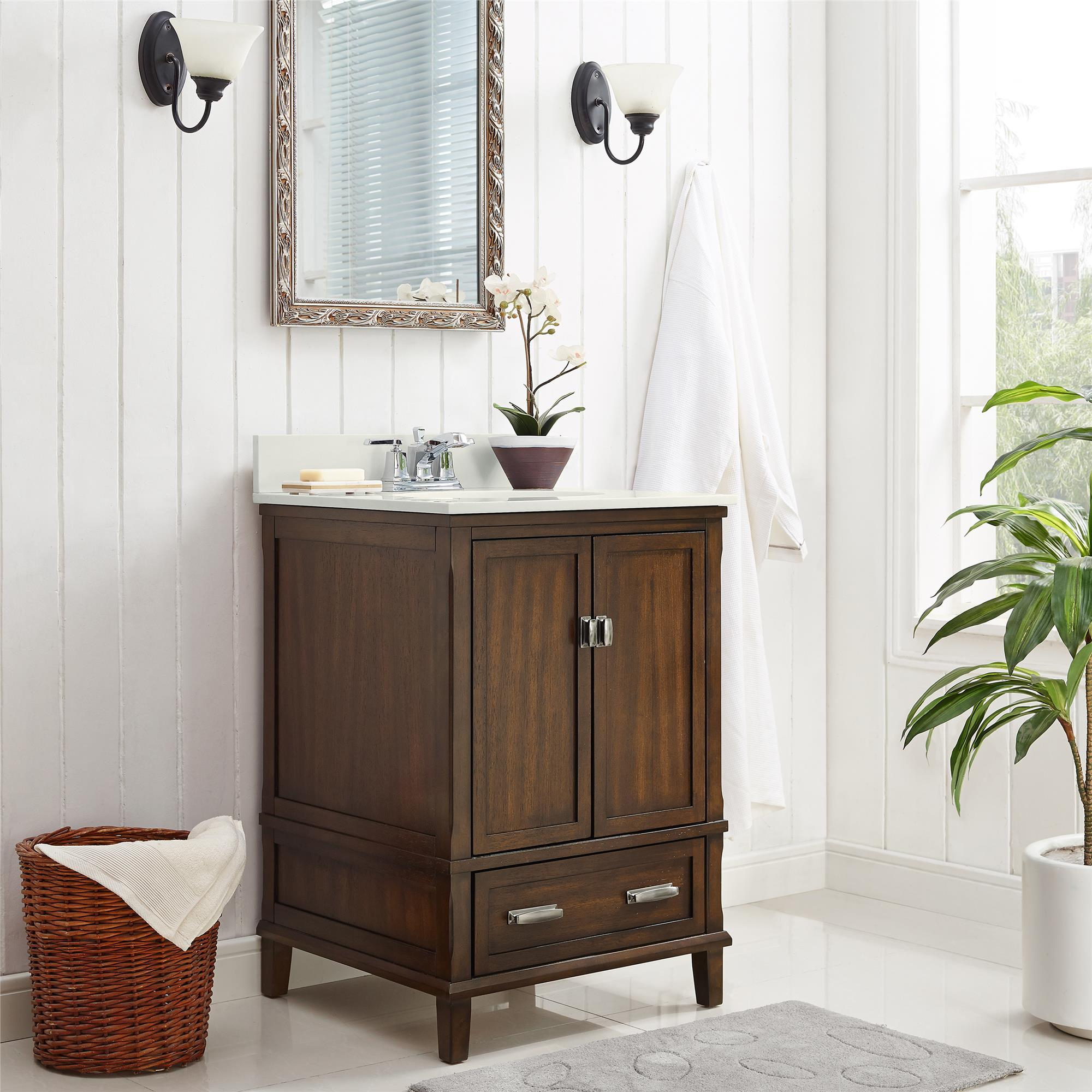 Dorel Living Otum 24 Inch Bathroom Vanity With Sink Dark Walnut Wood Walmart Com Walmart Com