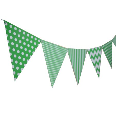 Quasimoon Green Mix Pattern Triangle Flag Pennant Banner Decoration (11FT) by PaperLanternStore