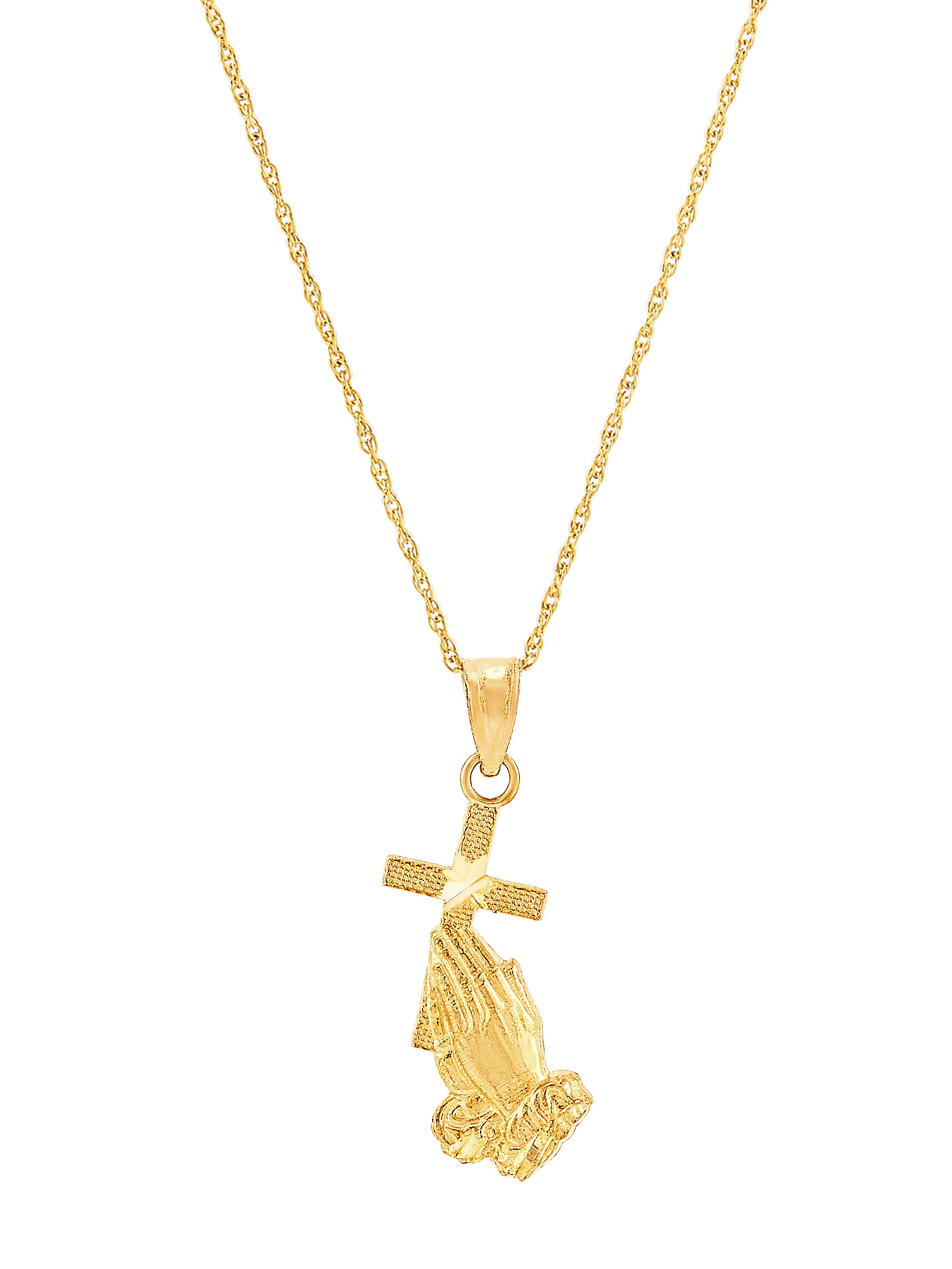 Suhana Jewellery Jesus Cross Pendant with 18 Chain for Unisex 14K White Gold Fn Simulated Diamond Studded