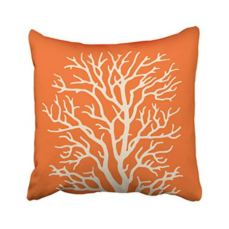 19.25 Inch Cream - WinHome Decorative Pillowcases Coral Tree In Cream On Pumpkin Orange Throw Pillow Covers Cases Cushion Cover Case Sofa 18x18 Inches Two Side