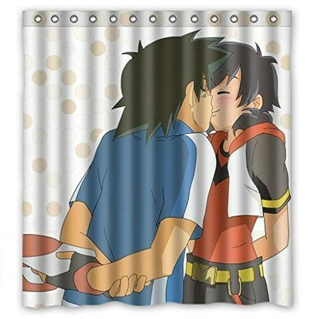 DEYOU Anime Cartoon Boy Look In The Mirror Shower Curtain Polyester Fabric Bathroom Size