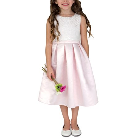 Little Girls' 4-6X Lace Bodice Satin Flower Girl Dress for $<!---->
