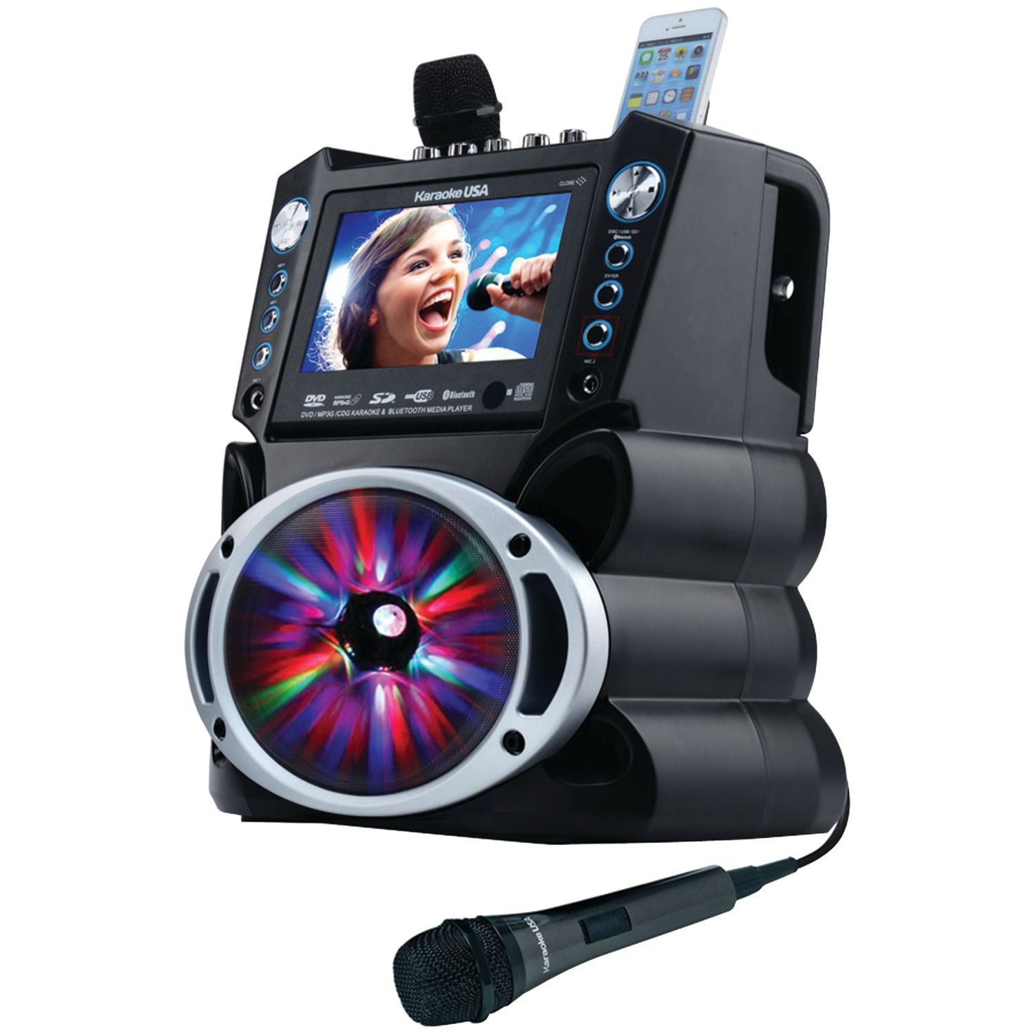 """Karaoke USA GF842 Complete Bluetooth Karaoke System with LED Sync Lights- 35 Watt Power Output includes 2 Microphones, Remote Control, 7"""" Color Screen, Record Function. Plays DVD/CDG/MP3G / USB /SD"""