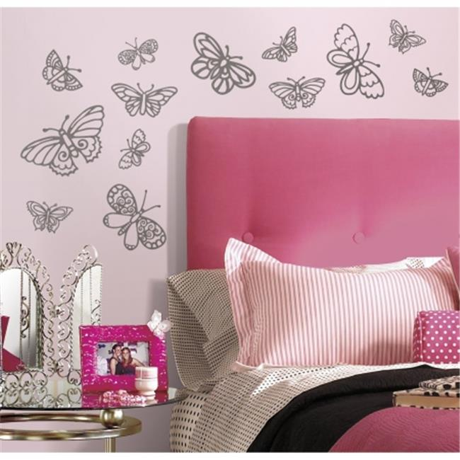 Room Mates RMK2637SCS Glitter Butterflies Peel And Stick Wall Decals