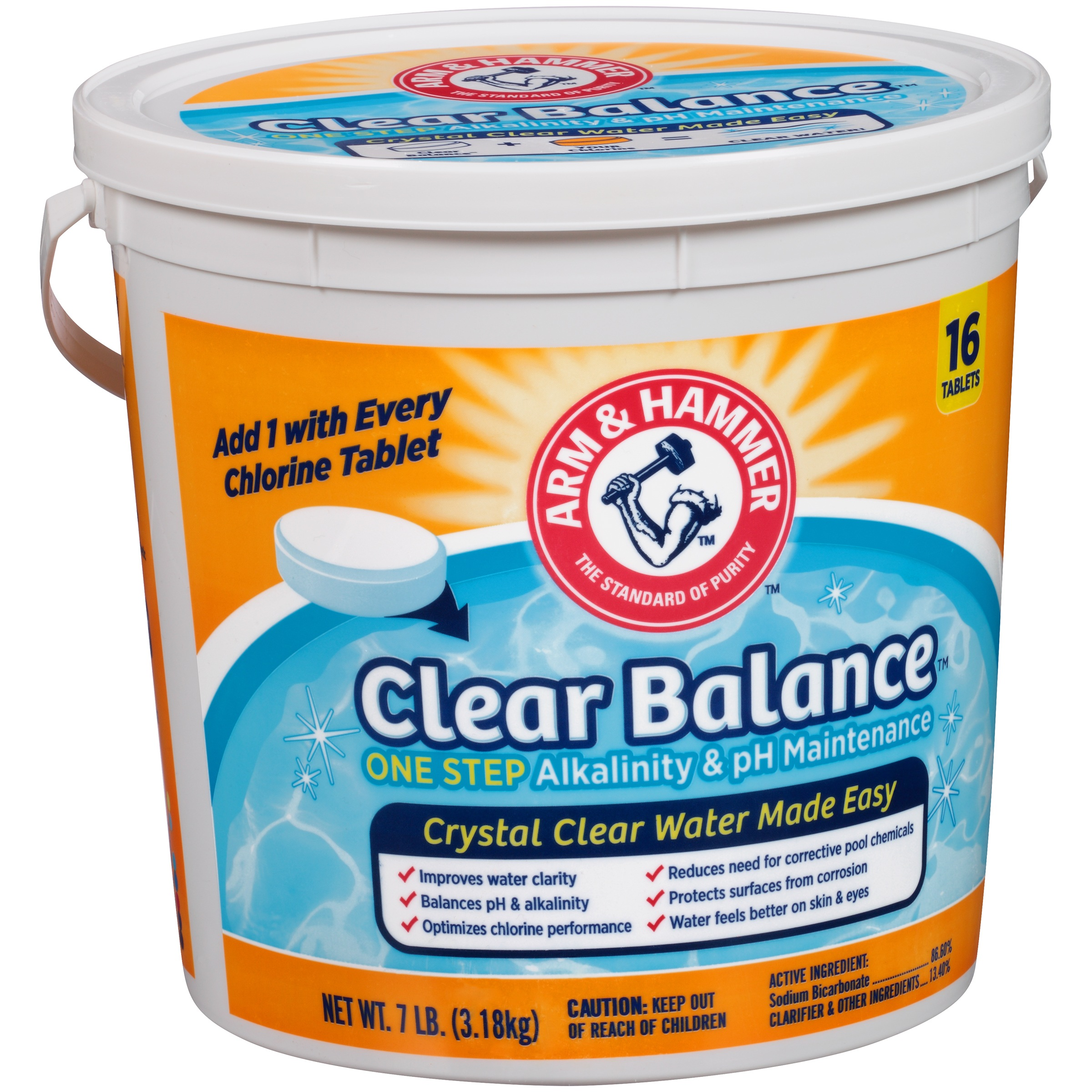 Arm & Hammer Clear Balance Swimming Pool Maintenance Tablets, 16 Count