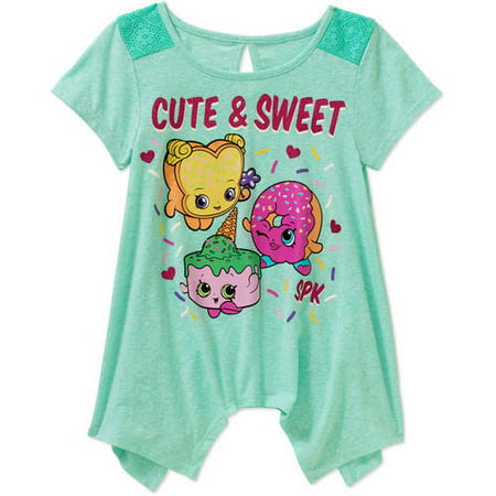 Shopkins Girls' Cute & Sweet Shark Bite Crochet Panel Sleeve Graphic Tee