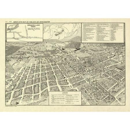 Vintage Map of Winchester Virginia 1926 City Of Winchester County Canvas Art -  (18 x 24) (Party City Winchester Virginia)