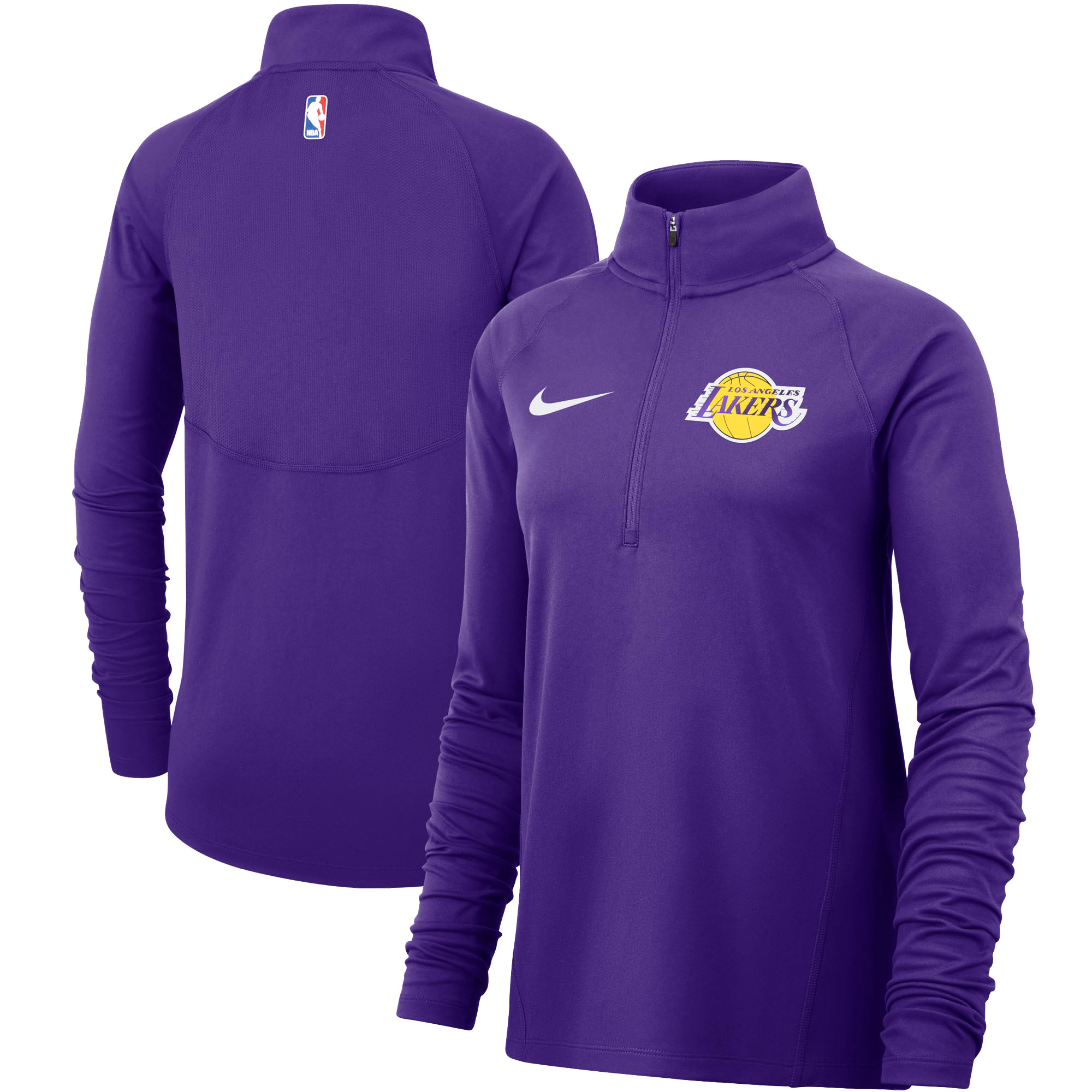 Los Angeles Lakers Nike Women's Element Performance Raglan Sleeve Half-Zip Pullover Jacket - Purple