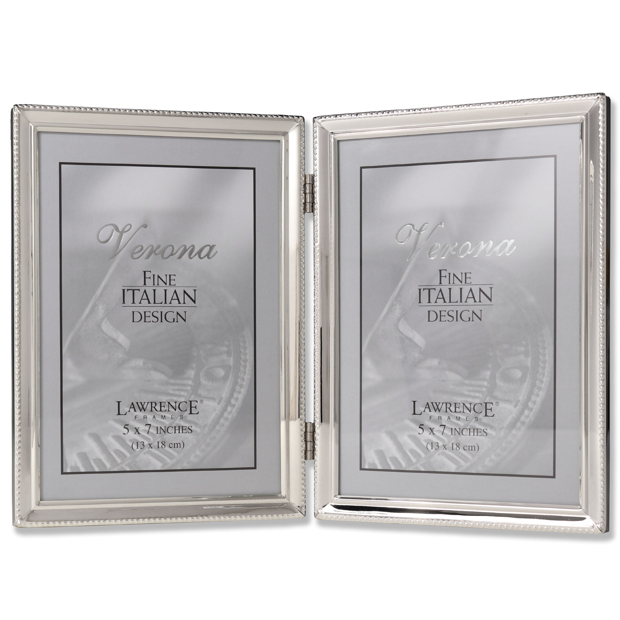 Polished Silver Plate 5x7 Hinged Double Picture Frame - Bead Border ...
