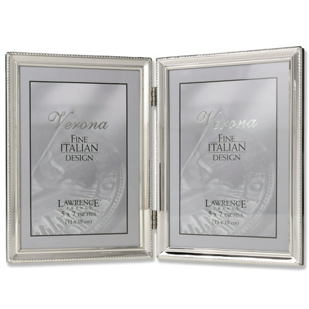 Polished Silver Plate 5x7 Hinged Double Picture Frame Bead Border