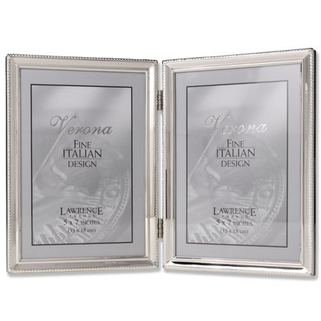 Polished Silver Plate 5x7 Hinged Double Picture Frame - Bead Border Design