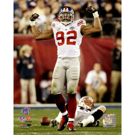 Michael Strahan Superbowl Xlii Action