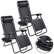 2PC Zero Gravity Lounge Chairs Patio Folding Recliner Outdoor W/ Cup Holder