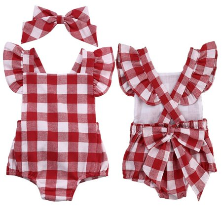 Newborn Infant Baby Girls Clothes Plaids Checks Romper Jumpsuit Bodysuit Outfit](Plaid Onesie)