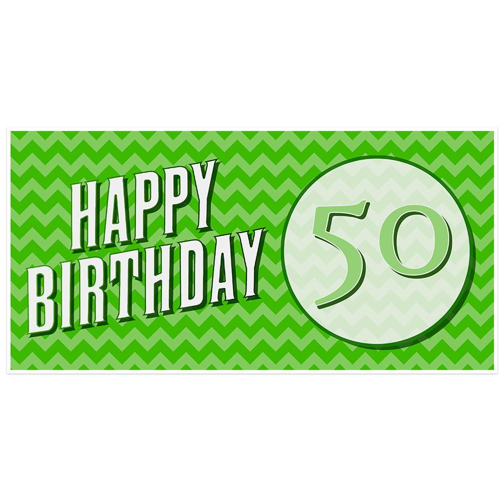 Green Chevron 50th Birthday Banner